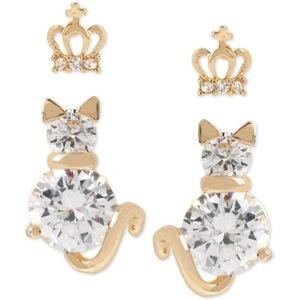 Betsey Johnson Crystal Crown and Cat Studs